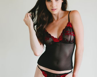 Valentines Lingerie - Sheer Mesh String Bikini With Red and Black Lace Front - 'Magnolia' Style Panties Made To Order Custom Fit Lingerie