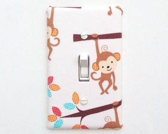 Light Switch Plate Cover - Monkey Hanging from Tree - single toggle wall plate