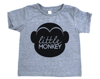 Little Monkey Triblend TShirt in Heather Grey with Black Print - Infant and Toddler Sizes