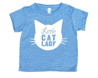 Little Cat Lady Triblend TShirt in Heather Blue with White Print - Infant and Toddler Sizes
