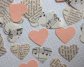 Vintage Wedding - Romantic Vintage Heart Confetti with Peach Hearts
