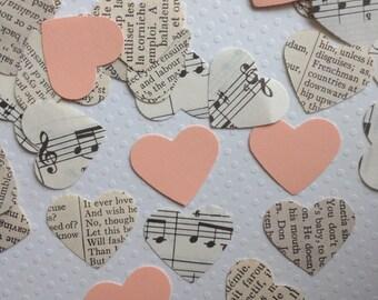 Vintage Wedding - Romantic Vintage Heart Confetti with Peach Hearts