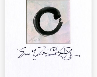"""Enso painting, Zen Circle Watercolor Art, Original Contemporary painting in mat """"The Enso Of Zen m10"""" by Kathy Morton Stanion EBSQ"""