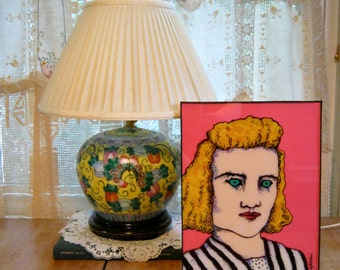 strange lady art, sandy mastroni , retro painting, 1940 's hair , original,reverse glass painting , creepy eyes, ready to hang 8 1/2 x 11 ,