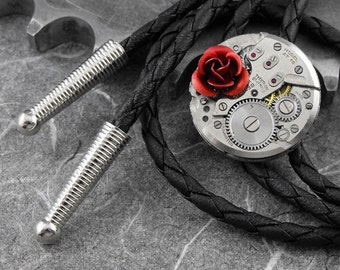 Steampunk Red Rose Western Bolo Tie - Because She Is My Rose by COGnitive Creations