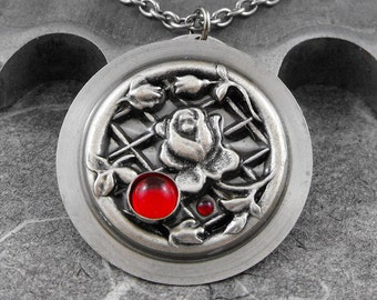 Red Rose on Lattice Necklace - The Rose Garden by COGnitive Creations