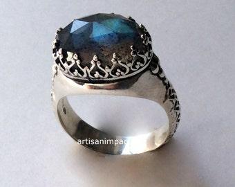 Silver Ring, Gemstone ring, Labradorite Ring, green Stone Ring, crown Ring, bohemian silver ring, engagement ring - I believe. R2052 -1