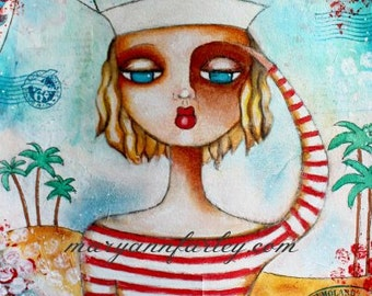 Sailor Girl Art Print, 8 x 10, 5 x 7 Whimsical Art, Retro Illustration, Mixed Media Print, Navy, Nautical Art, Ocean Theme, Blue Red