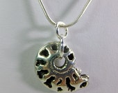 Unisex Metal Ammonite Charm Pendant on a Chain Necklace Small and Finely Detailed
