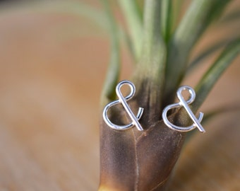Ampersand stud earrings in sterling silver - nickel free studs - gift for her / gift for BFF / gift for Mother's Day  / bridesmaid gift