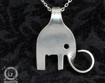 Elephant Fork Pendant --- Handmade from Recycled Antique Forks --- Sterling Silver Plated Silverware Jewelry - FREE SHIPPING WORLDWIDE!