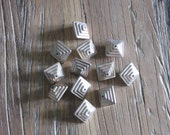 12 Deco Inspired Silver Plastic Beads