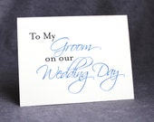 To Groom From Bride Card, To My Groom on Our Wedding Day Card