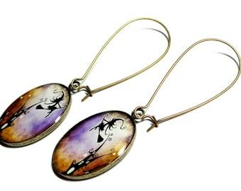 Halloween Earrings, Witch Earrings, Handmade Jewelry, Resin Earrings, Dangle Earrings, Halloween Jewelry, Halloween,Witch, Handmade Earrings