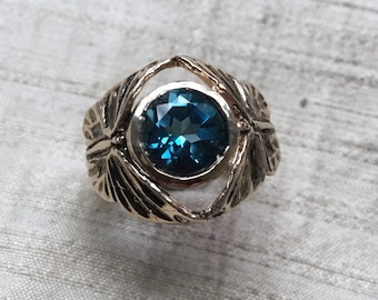 The Butterfly Duo Ring- London Blue Topaz in Bronze