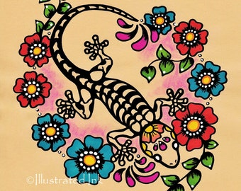 Day of the Dead GECKO Tattoo Art Print 8 x 10