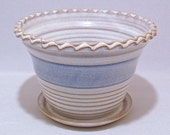 Fluted Rim Planter with an attached Dish on the bottom Soft White and Blue Handmade Pottery