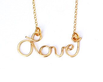 SAY my NAME14k gold or sterling silver wire necklace