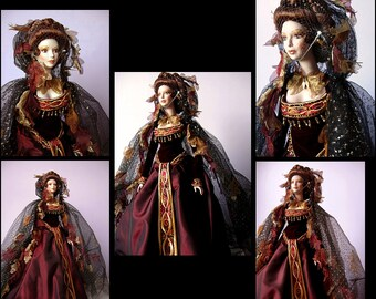 """Autumn - Vintage Rare 22"""" Bob Mackie Porcelain Doll - Stunning Wardrobe with Shimmering Hooded Cape and Embellished Gown"""