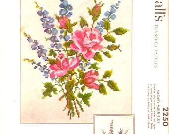 50s Vintage Flower Cross stitch transfer pattern McCalls 2250 Spring Summer Floral Roses and Delphiniums Designs
