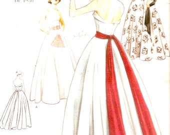 50s Wedding gown Evening dress 1950 Reissue Sewing pattern Vogue 2239 sewing pattern Midcentury Style Size 10