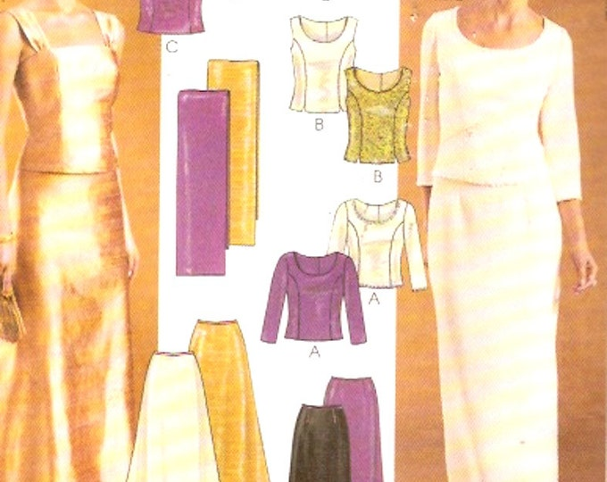 Evening Top Skirt Wrap McCalls 3436 sewing pattern Fashion Evening Elegance Plus size 16 to 20 Uncut