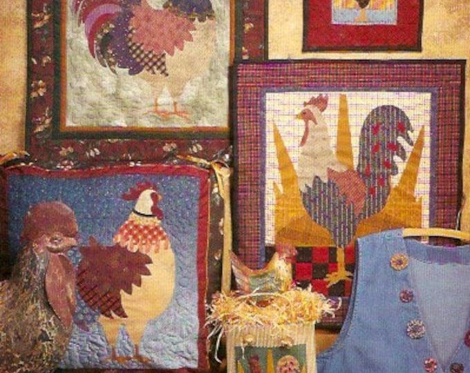 Sunrise Rooster Quilt and pillow Folk Art Fiber Mosaics Sewing pattern 6202 Cock a Doodle Primitive style UNCUT