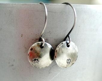 Lotus Flower Earrings, Yoga Jewelry, Namaste, Stamped Silver Earrings, Lotus Flower Jewelry, Zen Jewelry, Lotus Flower Dangle Earrings