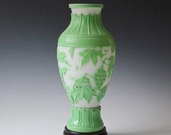 Vintage Chinese Peking overlay glass vase - light green overlay pattern of grape leaves and grasshopper