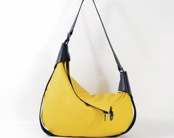 Rosaire - Handmade Black & Yellow Leather Twin Size Hobo Shoulder Bag. SS15
