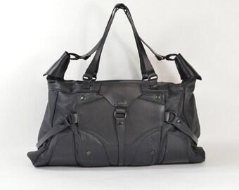 Bibi - Handmade Black Leather Biker Tote Holdall Bag