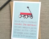 Red Wagon First Birthday Invitation {Boy}