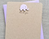 lilac baby girl elephant baby shower thank you cards, handmade recycled kraft baby shower thank you cards