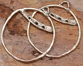 Sterling Silver Hoops, 30mm Round Earring Components, E-99