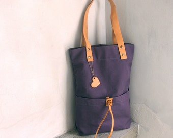 Canvas Tote Bag with Natural Leather Straps Purple-Blue Slate-Blue