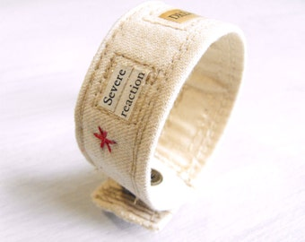 Psychology Series Fabric Bracelet with Text // Mixed Media Fabric Cuff Bracelet // Experimental Eco Jewelry by Luluanne