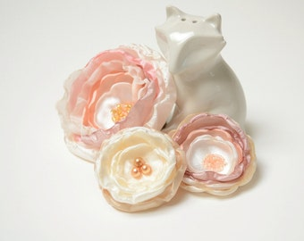 Bridal Flower Hair Clips in Ivory Champagne Dusty Rose, Blush & Rose Quartz Pink ~ Set of 3