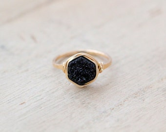 Hexagon Druzy Ring , Black Stacking Gemstone Bezel Wrapped Ring in Silver , Gold , Rose Gold , Geometric Minimalist Fashion - Eclipse