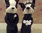 Boston Terrier Dog Wedding Cake Decoration Miniature Garden Sculpted Ooak Art Doll Whimsical