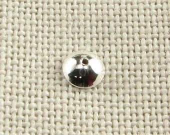 5mm Sterling Silver Bright and Shiny Dome Beadcap Bead Cap Beads (10 caps)