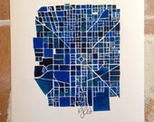 Downtown Indianapolis City Map Fine Art Print