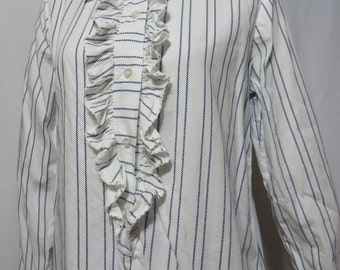 Vintage 60s Dress Psych MOD Tuxedo Ruffle Shift Tunic All Cotton Stripes