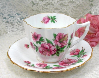 Clarence Bone China Tea Cup and Saucer, Pink Azalea, Made in England, Vintage Mid Century, English Garden, Tea Party, Scalloped Cup