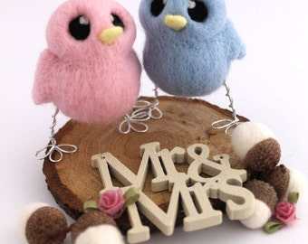 Mini Birds Wedding Cake Topper His 'n' Hers Needle Felted Birds