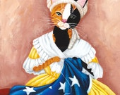 Kitty Ross Sewing the American Flag - Original Cat Folk Art Painting