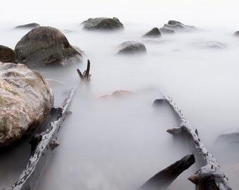 Zen Art Nautical Photography - Large Landscape Photography - Nautical Lake House Decor - Muted Tones Zen Prints - Coastal Lake Erie Picture