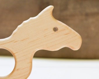 Maple Horse Teether with Crinkle Tail