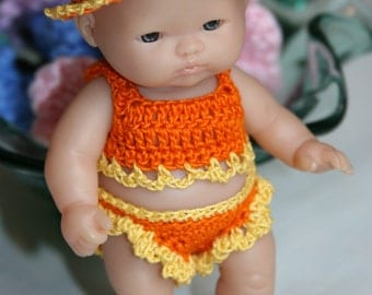 Crochet clothes outfit for Berenguer 5 inch Lots to Love baby doll Sunsuit Hat Yellow Orange