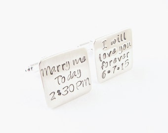 Marry Me Cufflinks, Love you Forever Cufflink, Square Cufflinks, Hand Stamped Cufflinks, Groom Cufflinks, Personalized Cufflinks