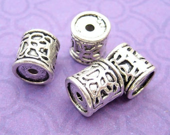 2 Drum Beads, Tube Beads, Column Beads, Bali Style, Silver Plated, 9mm Beads, Large Beads, Spacer Beads, Silver Beads, DIY Jewelry - TS102R